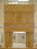 Marble Fireplace für Outdoor Stone Fireplace Mantel (QY-LS286) schnitzen