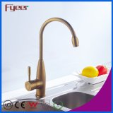 Fyeer Brass Body High Arc Antique Brass Kitchen Sink Faucet