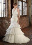 Nuovo Organza pieghettato di qualità superiore 2013 con il vestito da cerimonia nuziale del Halter della sirena del fiore staccabile/abito di cerimonia nuziale integrali (ML-4815)