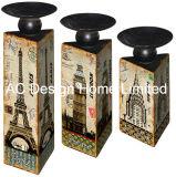 MDF dell'oggetto d'antiquariato dell'annata di disegno della Rosa del cavolo S/3 di legno/supporto di candela di carta del triangolo decalcomania del metallo