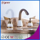 Fyeer Antique Copper 3 Hole Basin Faucet com alça dupla