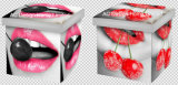 섹시한 소녀 입술 디자인 사각 입방체 PU 가죽 및 나무로 되는 접히는 저장 시트 오토만 발판