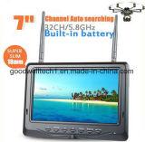 Récepteur de diversité LCD de 7 pouces et 5,8 GHz avec batterie