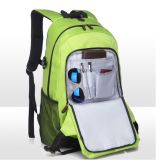 Saco verde da trouxa da escola do ombro da trouxa do portátil do saco da trouxa do computador