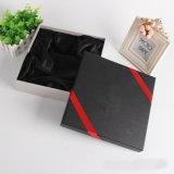 Rectángulos de papel negros mates de embalaje del regalo del reloj del perfume de la guarnición de seda