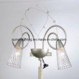 Lámpara de plata decorativa moderna del cristal del hierro labrado de Champán