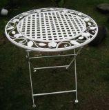 Tabela e cadeiras do jardim do ferro feito com teste En581