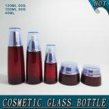 Bottiglia impaccante cosmetica del nuovo contenitore crema di vetro rosso-cupo di modo