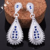 Fraueneinfaches modisches Silber überzogener Zircon-Ohrring für Hochzeits-Mädchen