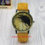 Relógio brilhante de quartzo com a cinta de couro genuína Fs515