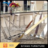 Tabella pranzante di vetro lunga del quadrato della mobilia dell'acciaio inossidabile