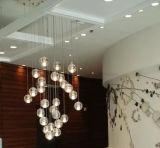 현대 로비 수정같은 거품 유리제 공 LED 펀던트 빛 LED 유성 비 샹들리에