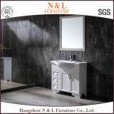 Gabinete elevado moderno da vaidade do banheiro do PVC do preto do lustro de N&L