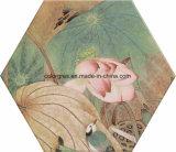 注入されたはすの花デザイン六角形の多角形の陶磁器の床タイル(200*230mm)