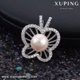 32776 Fashionable CZ dia. moon Bowknot Flower Pearl Jewelry counterpart, in Light Blue Stone