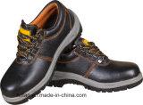 Zapato de seguridad de cuero genuino con punta de hierro fundido y placa