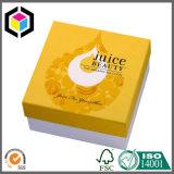 Rectángulo de papel de color de la impresión de la cartulina del regalo rígido amarillo de los cosméticos
