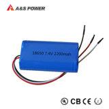 18650 paquete recargable de la batería de ion de litio de 2s1p 7.4V 2000mAh