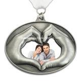 Venta al por mayor en forma de corazón de la medalla del recuerdo del metal de encargo