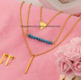 De multi Reeks van de Juwelen van het Roestvrij staal van de Halsband van 3 Laag van de Laag Turkooise