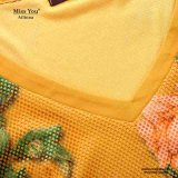 Las señoras de Srta. You Ailinna 305320 amarillean la alineada larga de la impresión floral del V-Cuello