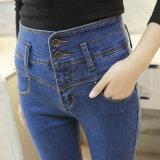 Neue Dame-Form-Denim-Jeans-hohe Taillen-dünne Jeans