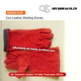 Перчатки заварки коровы безопасности красного цвета K-25 работая Split кожаный с подкладкой