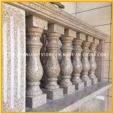 Asta della ringhiera di pietra gialla naturale del granito G682 con il corrimano dell'inferriata