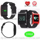 Вахта браслета Bluetooth Wristband пригодности франтовской с кровяным давлением Dm68