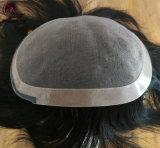 Mono Toupee del merletto con stile rotondo dell'unità di elaborazione della tessile nera e del merletto anteriore nuovo