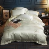 LuxuxSoild Satin4pc Silk Duvet-Deckel-Bettwäsche-Sets