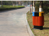 Public Garden Outdoor Plastic Products Dustbin with Iron Coated (HW-08)