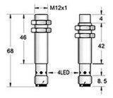 PNP de Alto Desempenho nº M12 Sensor de proximidade indutivo com conector M8