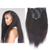 100% de cabelo humano Prorrogação Clip em extensões de cabelo 7PCS para Cabeça completa Kinky Crespas (AV-CHL07-14-1)