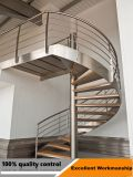 Edelstahl gebogene Treppe und Glas, die Innentreppenhaus mit der Eisenbahn befördert