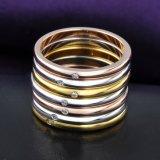 금에 의하여 도금되는 Austrial 수정같은 모조 다이아몬드 다중 원형 반지 형식 보석