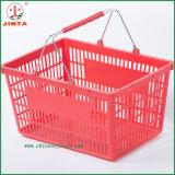 Cesta de compras de plástico com alça de metal (JT-G07)