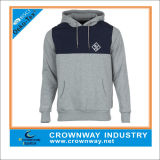Baumwolle Fleece Mens Pullover Hoodies in Gray Color