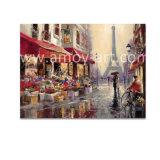 Pitture a olio Handmade della via di Parigi su tela di canapa