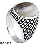 Nuovo anello arabo degli uomini dell'argento sterlina di disegni 925 con l'agata naturale