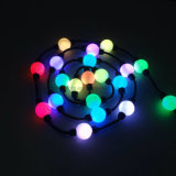 Luz de la cadena de la bola de la Navidad del RGB LED del brillo de 360 grados de alto