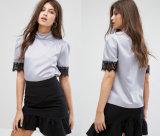 Dame-runde Muffen-Bluse mit kurzer Hülsen-Frauen-Bluse