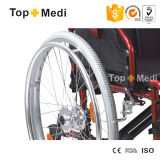 Topmedi Alumium, das manuellen Rollstuhl mit Schwingen-weg Schemel faltet