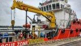 Палубный судовой кран большой емкости гидровлический