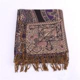 Жаккард Pashmina шарфа шикарных женщин длинний на зима