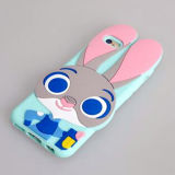 Grande couverture 2017 de silicones de lapin d'oreille de dessin animé pour le téléphone cellulaire