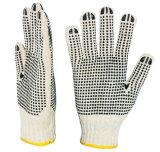Черная ПВХ-пунктирной белый хлопок трикотажные безопасности стороны перчатки