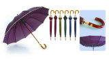 12 Houten Paraplu van de Rand van de Glasvezel van ribben de Automatische Wind (ys-25123516R)