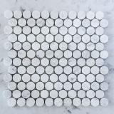 Mattonelle di mosaico di marmo rotonde del penny bianco di Carrara