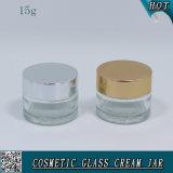 опарник 15ml 1/2 Oz косметический стеклянный для сливк стороны с алюминиевой крышкой